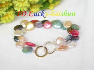 2rows 13mm multicolor coin pearls bracelet j7639