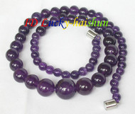 Graduated 14mm round Amethyst beads necklace j7633