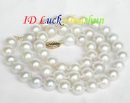 Genuine 9mm round white pearl necklace 14K clasp j7521