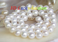 Luster 10mm round white FW pearl necklace 14K clasp j7506