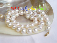 Luster 11mm round white FW pearl necklace 14K clasp j7503