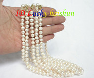 wholesale 5piece white freshwater pearls necklace j7425