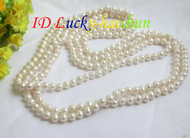"length 78"" 8mm white freshwater pearls necklace j7356"