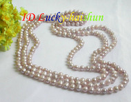 "length 78"" 8mm purple lavender FW pearls necklace j7355"