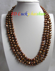 "16"" baroque 3row coffee freshwater pearls necklace j7345"