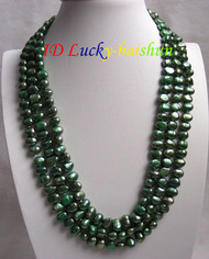 "16"" baroque 3row green freshwater pearls necklace j7343"