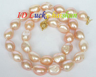 13X10mm natural baroque pink pearls necklace j7286