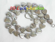 11.5X12mm Gray coin Heart-shape pearls necklace j7264