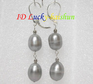 13mm drop gray pearls dangle earrings 925ss hook j7162