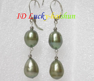 14mm drop green pearls dangle earrings 925ss hook j7161