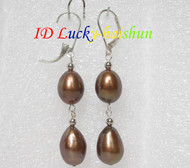 14mm drop coffee pearls dangle earrings 925ss hook j7160