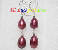 15mm drop wine red pearls dangle earrings 925ss hook j7158