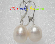 12X14mm drop white pearls dangle earrings 925ss j7150