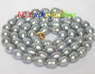 "32"" 13.5mm LUSTER Gray baroque pearls necklace j7068"
