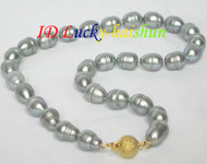 LUSTER baroque 13.5mm Gray pearls necklace j7067
