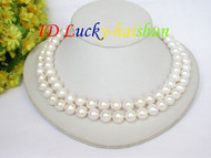 "Genuine 17"" 2row 11mm round white pearls necklace j7040"