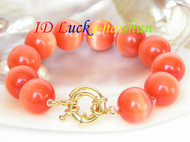 "8"" nature 16mm round orange opal beads bracelet j7031"