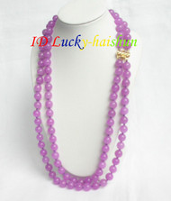 "AAA 22"" 2row nature healthy 10mm purple jade necklace j6975"