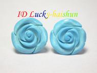 Genuine 18mm carved blue turquoise Earrings 14K stud j6947