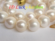 Genuine 12mm white freshwater pearls necklace j6843