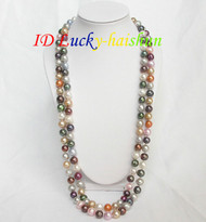 "long 50"" 10mm round Multicolor FW pearls necklace j6794"