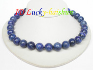 AAA 100% NATURE ROUND LAPIS LAZULI NECKLACE 14MM j6726