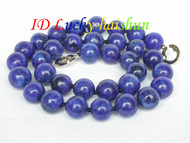 AAA 100% NATURE ROUND LAPIS LAZULI NECKLACE 12MM j6725