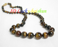 "natural AAA 20"" Graduated Tiger's eyes tiger's-eye tigereye necklace j6552"