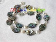 "18"" 16mm Multi-color Abalone shell white pearl necklace j6527"