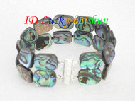 "8"" 16mm 2row Multi-color Abalone shell Bracelet j6500"