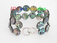 "8"" 14mm 2row Multi-color Abalone shell Bracelet j6499"