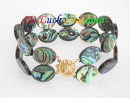 "8"" 16mm 2row Multicolor Abalone shell Bracelet j6498"