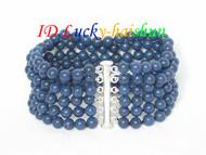 Genuine 6row nature round lapis lazuli Bracelet 925sc clasp j6439