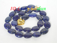 Genuine 15mm ellipse olivary lapis lazuli necklace j6438
