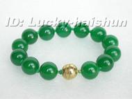 "8"" 14mm natural green jade bead bracelet magnet clasp j6395"