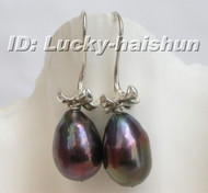 15mm dangle pear Black freshwater pearl earrings 925sc j6366