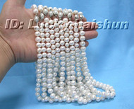 wholesale 10piece 10mm White round pearls necklace 18KGP j6212