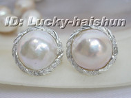 100% natural 20mm white South Sea Mabe Pearls Earring 925sc j6191