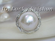 100% natural 20mm white South Sea Mabe Pearls Ring 925sc j6190