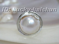 100% natural 19mm white South Sea Mabe Pearls Ring 925sc j6188