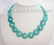 NATURAL GREEN Chrysocolla WHITE PEARL NECKLACE j6166