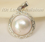 20mm white South Sea Mabe Pearls necklace Pendant j6123