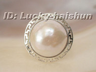 100% natural 20mm white South Sea Mabe Pearls Ring 925sc j6122