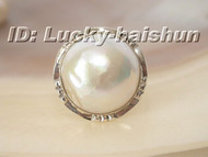 100% natural 18mm white South Sea Mabe Pearls Ring 925sc post j6121