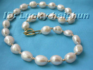 """18"""" 13mm baroque white Freshwater pearl necklace j6084"""