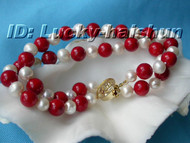 Genuine 2row 8mm round white coral bracelet j6049