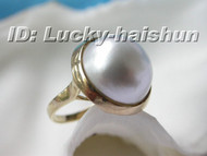 #6 16.5mm South Sea white Mabe Pearl Ring 14KT gold j5992