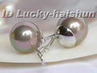 Authentic 14mm coffee sea shell pearls earrings clip 925sc j5804