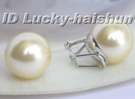 Authentic big champagne sea shell pearls earrings clip 925sc 14mm j5789
