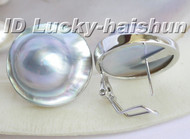 AAA natural rare 22mm Gray South Sea Mabe Pearl Earrings 925sc j5788